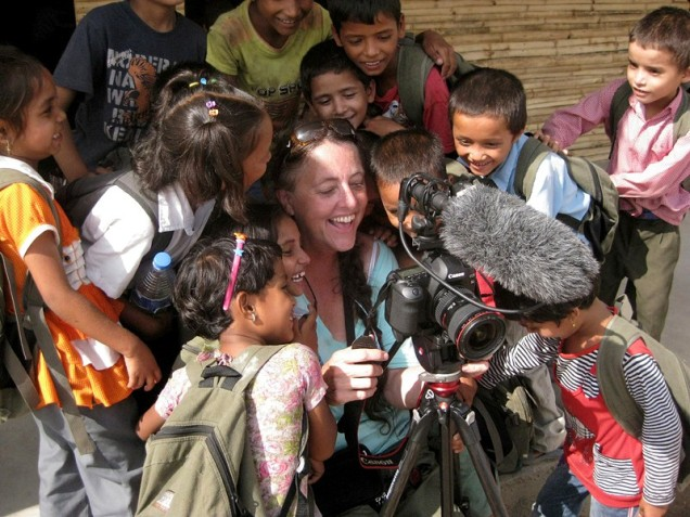 "Gail shooting feature doc ""Opening Our Eyes"" at the Kopila Valley Primary School, Surkhet, Nepal"