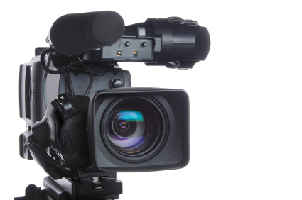 Professional high definition video camera, isolated on white background