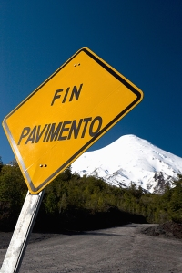 Fin Paviment (end of pavement) sign on Osorno Volcano, Lake Llanquihue, Lake District, Chile