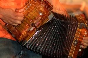Cajun musician playing accordian, New Orleans, Louisiana