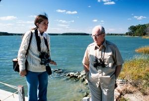 Gail Mooney with James Michener, Chesapeake Bay, MD