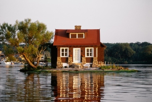 House on its own island, Thousand Islands, New York