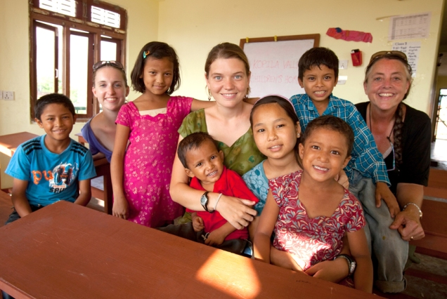 Maggie Doyne, Erin and Gail at the Kopila Valley Childrens Home, Surkhet, Nepal