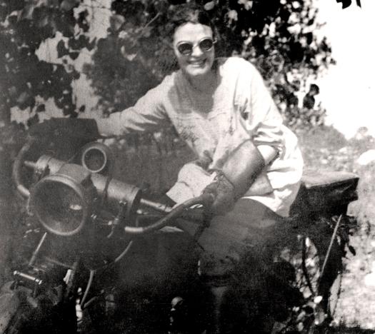 Gladys Mooney on motorcycle