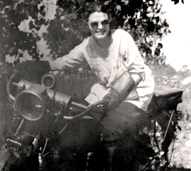 Gladys Mooney on motorcycle