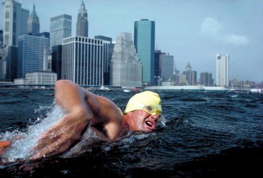 Marathon swimming, East River, New York City