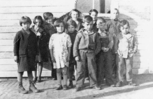 Groleau children at school, Upper Peninsula, Michigan