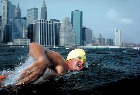 Marathon swimming, East River, New York City