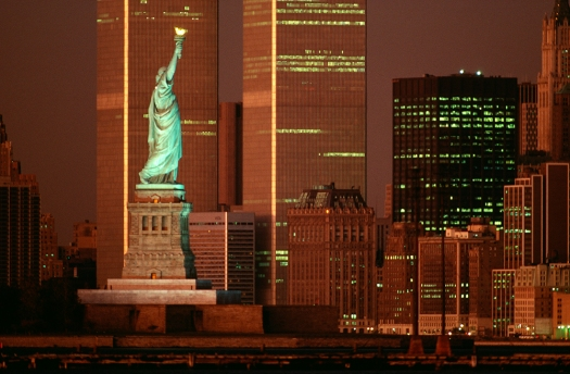 Statue of Liberty and The World Trade Center at dusk, New York, NY